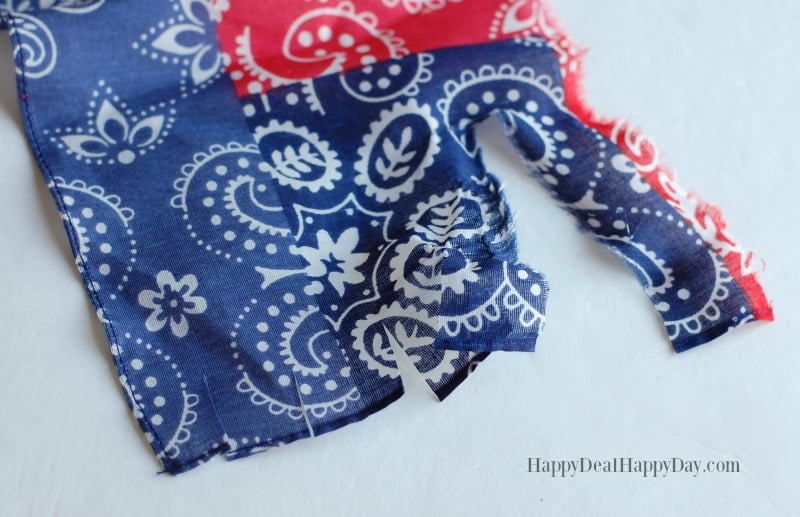 red white and blue bandanna for patriotic wreath