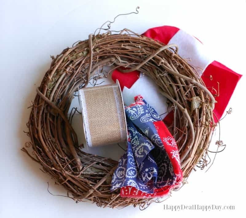 DIY Patriotic Wreath materials