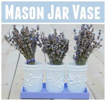Mason Jar Vase With Puffy Paint Flourishes