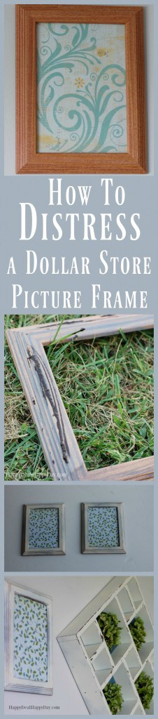 How to Distress a Dollar Store Picture Frame - get that rustic farmhouse look using just $1 frame! Find the full tutorial here: http://wp.me/pUbK5-voe