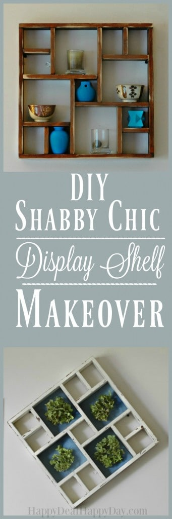Shabby Chic Display Shelf Makeover - give an old knick knack shelf new life with this makeover! I show you how to distress the wood, and work with dried hydrangeas for this one of a kind wall hanging. GO HERE to see the tutorial: http://wp.me/pUbK5-vl5