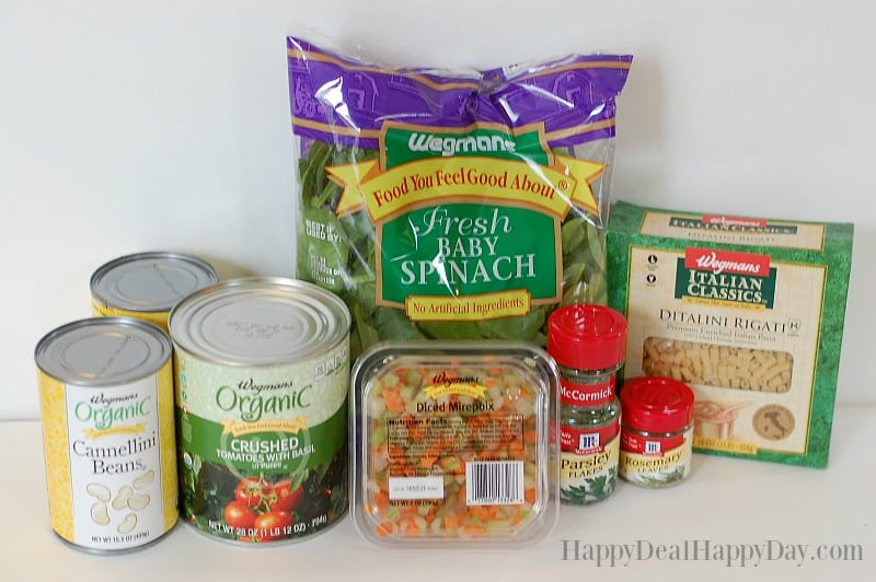Vegetarian Pasta Fagioli Soup Recipe - This was inspired by a Wegmans Menu Magazine recipe - but this version is vegetarian. #vegetariansouprecipe #vegetarian #vegetarianrecipes #vegetariancooking #vegetariandinnerrecipeslowcarb #souprecipes #pastafagioli #pastasoup #soup