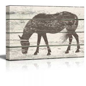 grazing-horse image on wood