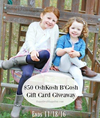 OshKosh B'Gosh $50 Gift Card Giveaway – Ends 11/18 + 25% off Promo Code!!  #BgoshBelieve
