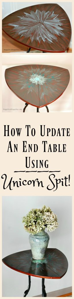 "How To Update An End Table Using Unicorn Spit. Have you tried this non-toxic wood stain that smells like jasmine? This stuff is so cool and I'll show you the ""aura blast"" technique using Unicorn Spit!"