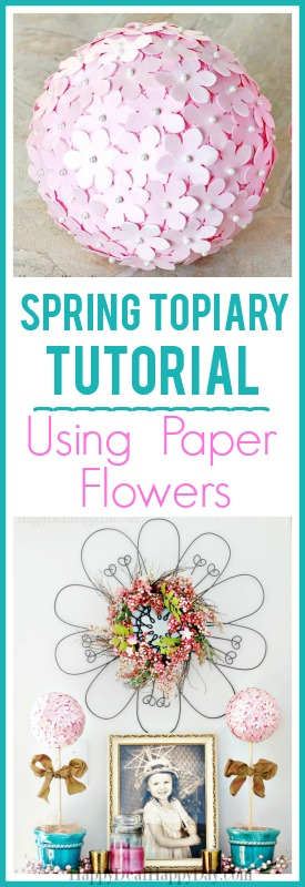 Spring Topiary Tutorial using Paper Flowers - this is an easy way to bring spring into your home! #paperflowers #springdecor #springdecoration #springtopiary #topiarytutorial #springtopiarytutorial