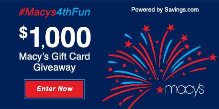 Macy's 4th of July $50 Gift Card Giveaway – 20 Winners!  Ends 7/4  #Macys4thFun