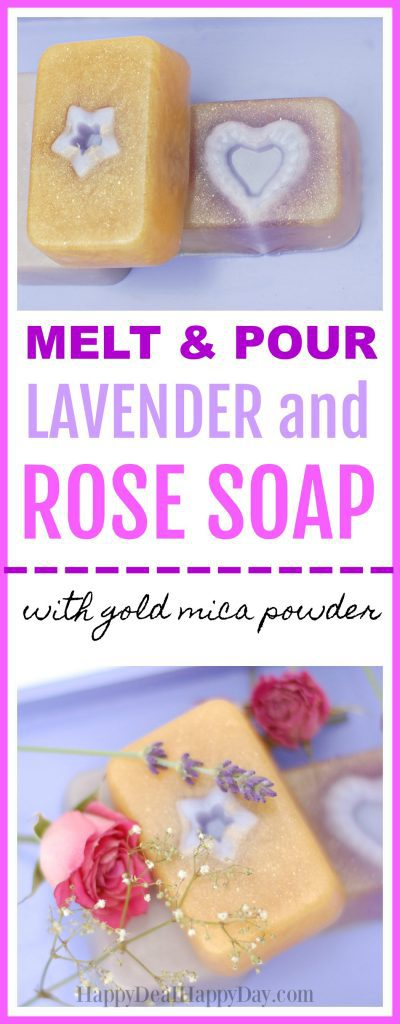 Here is an easy melt & pour soap recipe that combines 2 molds to create two scents and shapes to make rose and lavender scented soap.