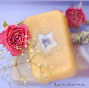 Easy Melt & Pour Goat Milk Soap Recipes:  Rose & Lavender Soap with Gold Mica Powder