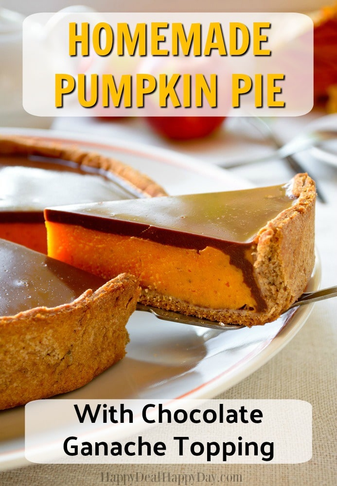 Homemade Pumpkin Pie with Chocolate Ganache Topping Recipe - the best combo is pumpkin with chocolate ganache!! Great way to spruce up the traditional pumpkin pie this thanksgiving! #pumpkin #pumpkinrecipes #chocolaterecipes #thanksgivingrecipe