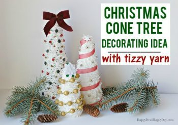 Christmas Cone Tree Decorating Idea With Fizzle Yarn