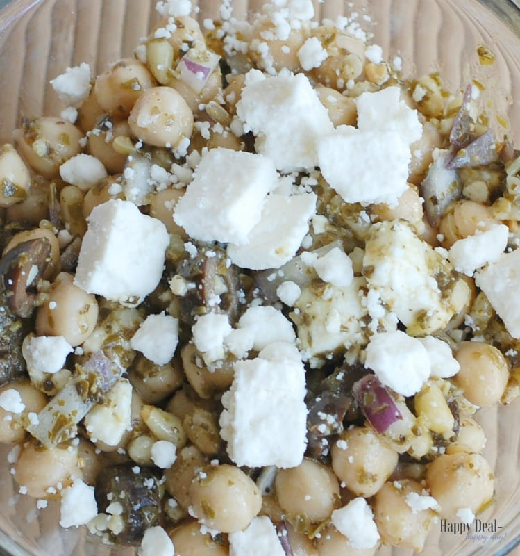 Healthy Chickpea Pesto Salad with Pine Nuts