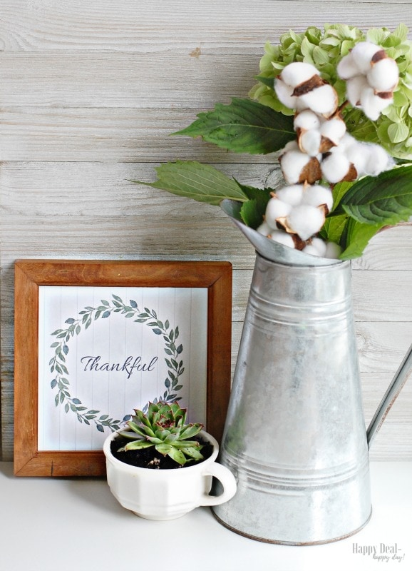 thankful fall printable wall art with succulents and cotton