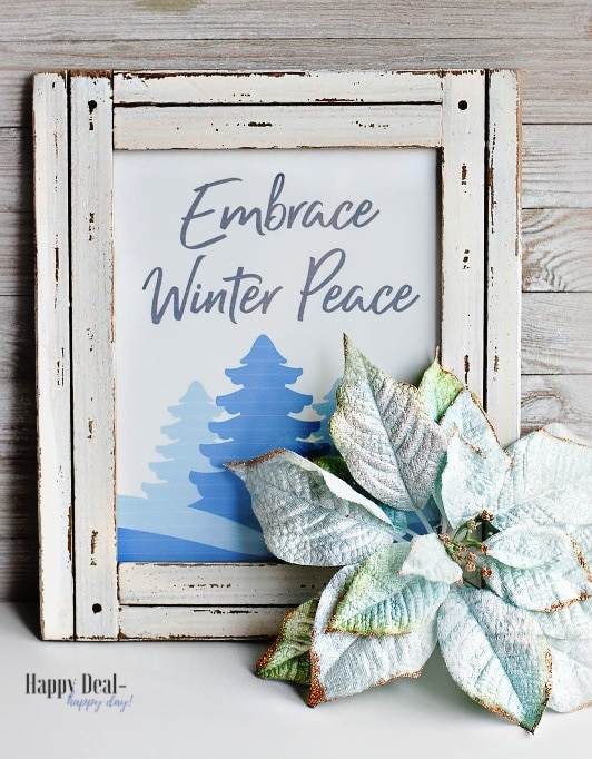 "Free Printable Winter Wall Art For Your Home – ""Embrace Winter Peace"" Winter Printable"