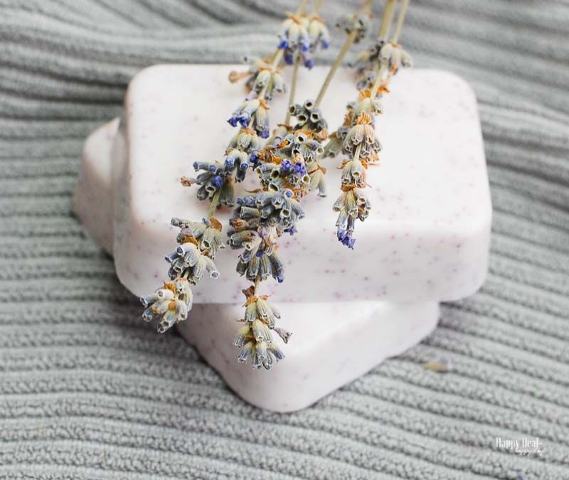 Homemade Soap with Essential Oils - with lavender flowers
