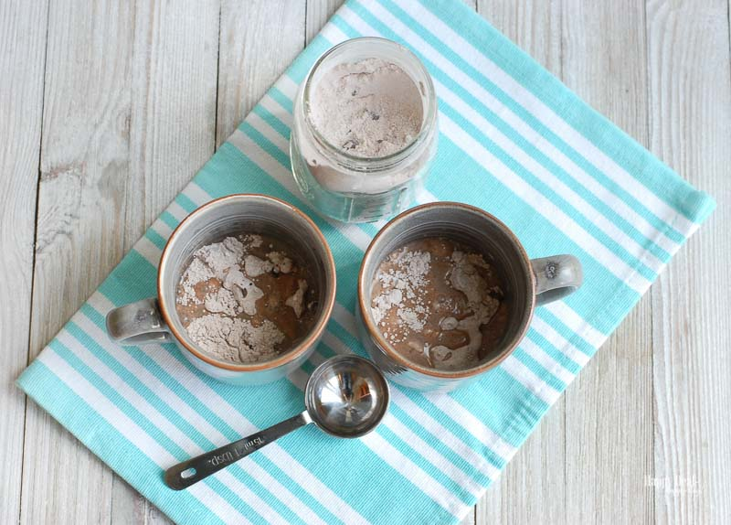 Chocolate Mug Cake - stirring ingredients