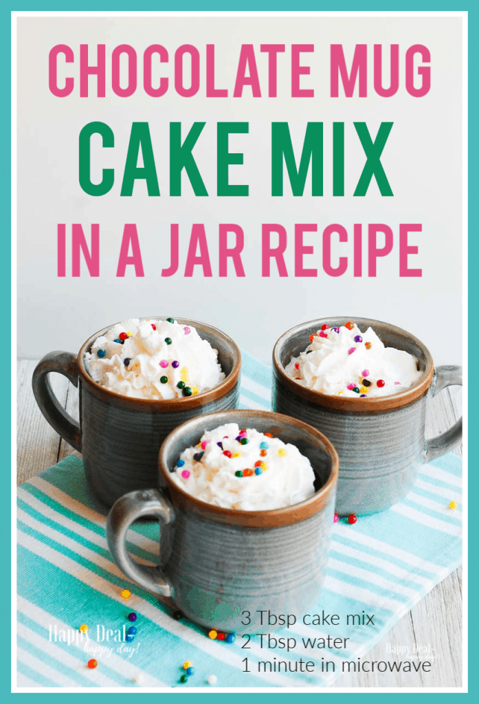 chocolate cake mix in a jar recipe in mugs with whip cream and sprinkles