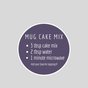 Chocolate Mug Cake free printable recipe label
