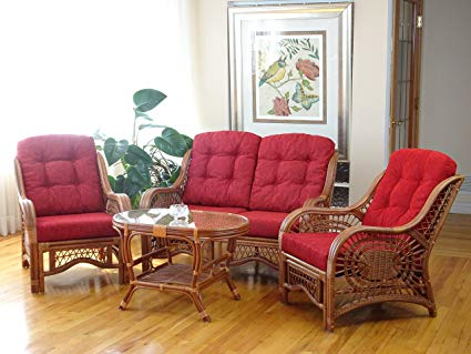 wicker furniture with red cushions