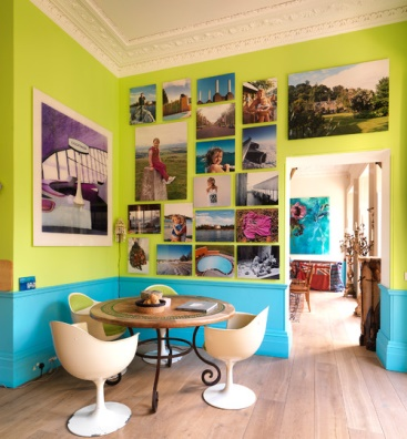 lime green and turquoise walls for summer decor