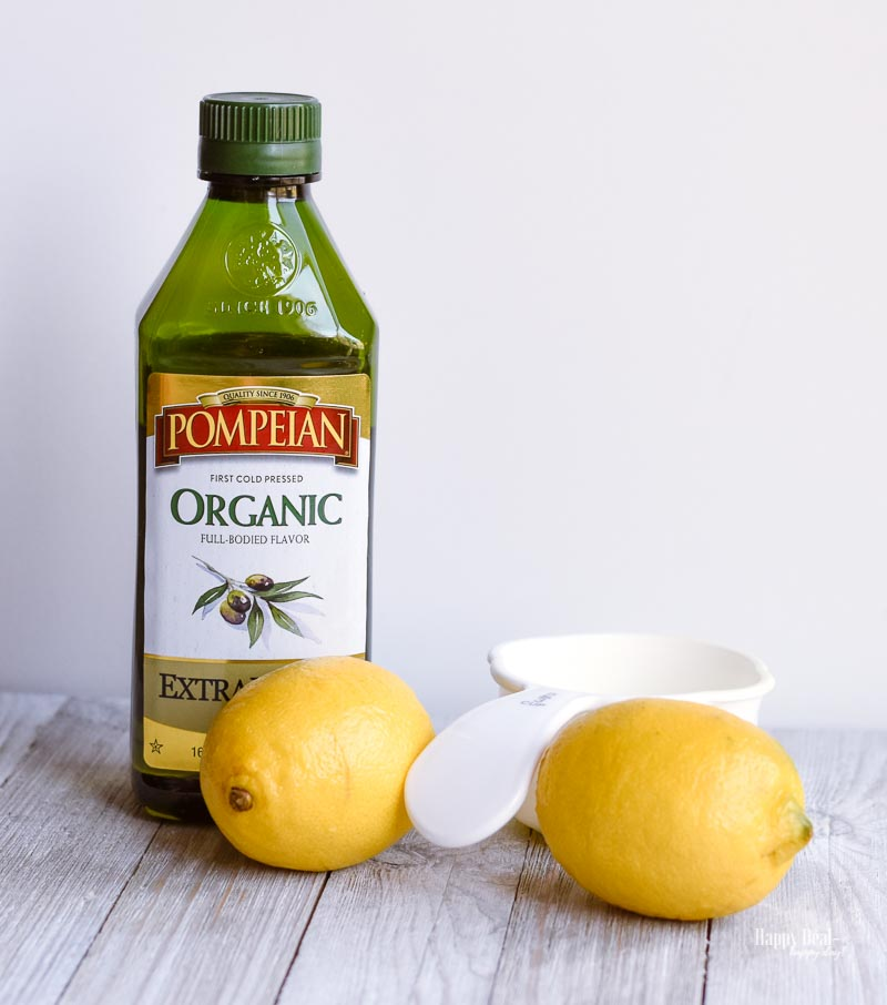 ingredients needed to make homemade lemon infused olive oil