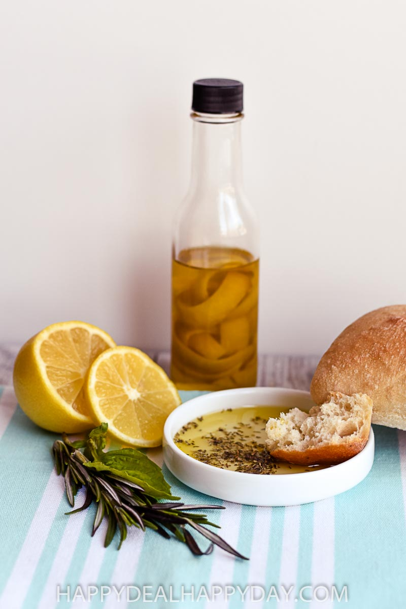 olive oil bread dip with lemon infused olive oil