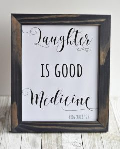 "Free 8×10 Printable ""Laughter Is Good Medicine"" Easy Decor Idea!"