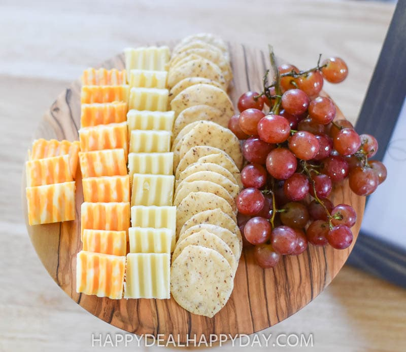 cheese platter made out of repurposed materials