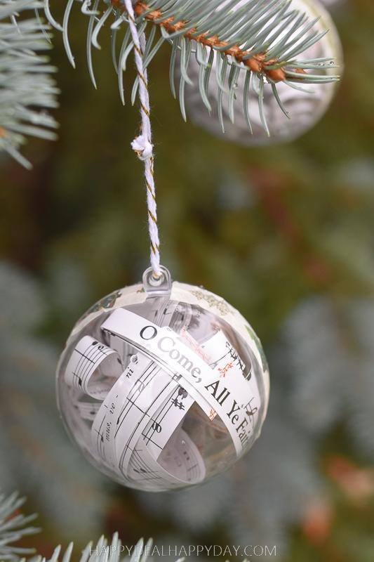 Clear Plastic Ornament Filled With Christmas Carol Lyrics