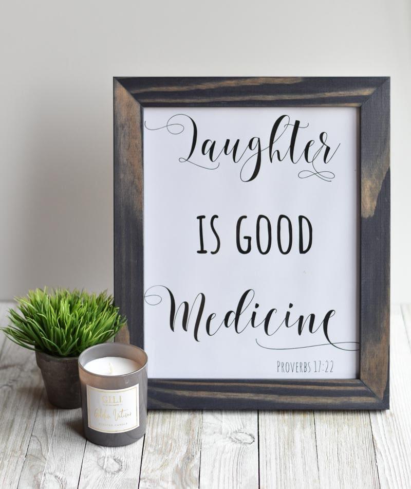 "DIY Christmas Gift Idea Free Printable ""Laughter Is Good Medicine"""