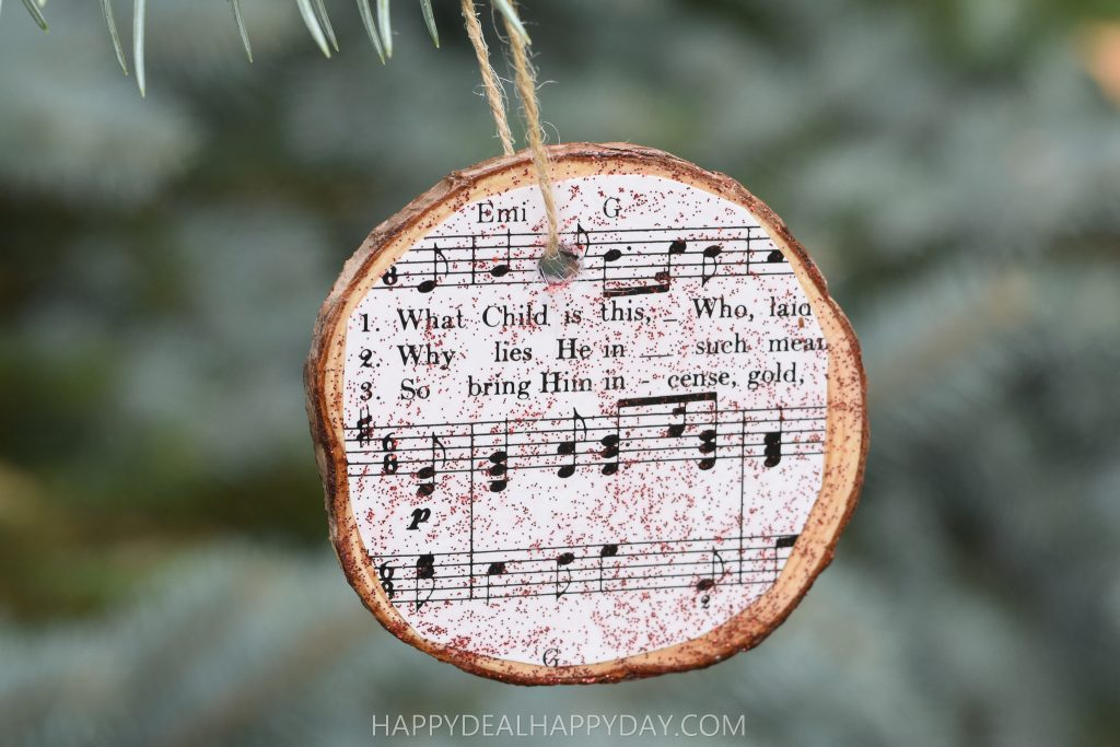 Wood slab Christmas Ornament hanging