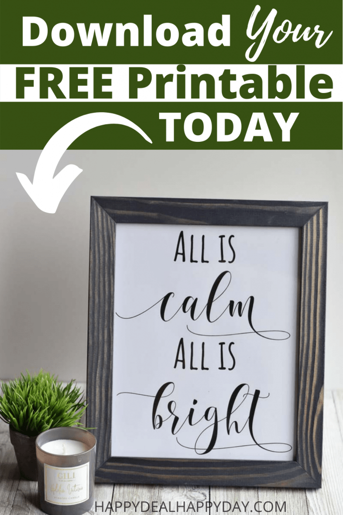 free printable all is calm all is bright Christmas decoration