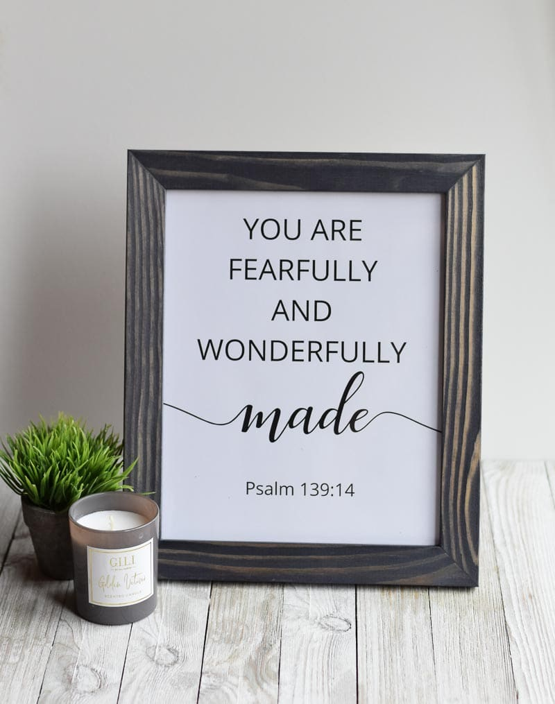 """You Are Fearfully And Wonderfully Made"" printable wall art"