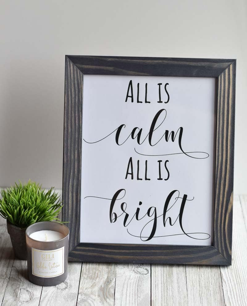 all is calm all is bright printable Christmas decoration