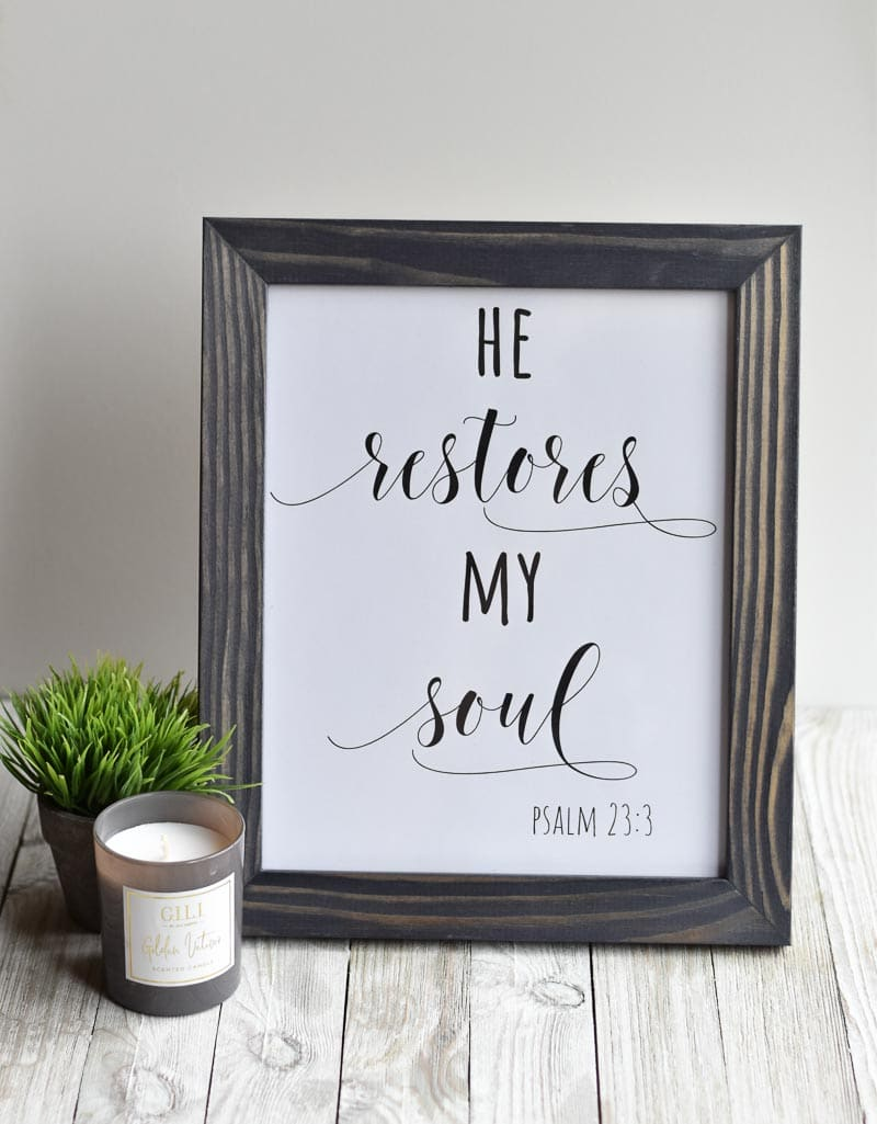 """He Restores My Soul"" printable wall art"
