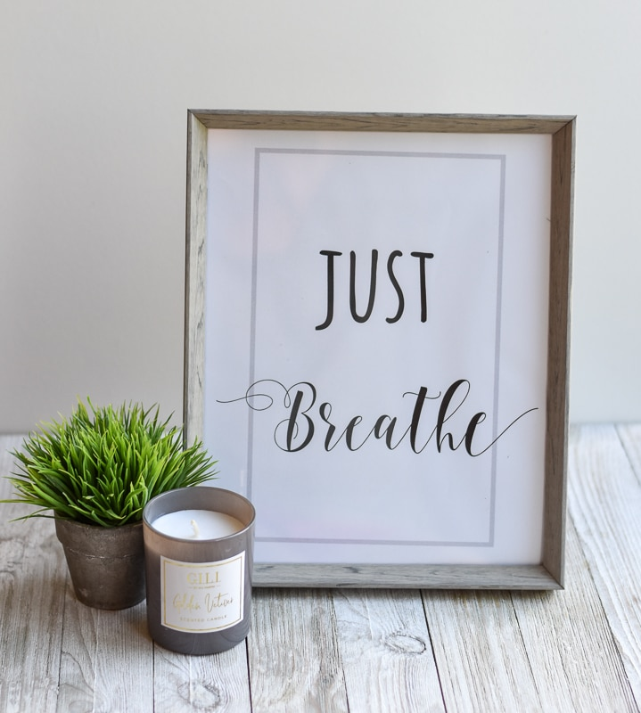 """Just Breath"" printable wall art"