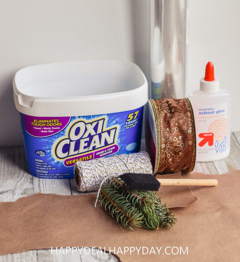 materials needed to upcycle a plastic Oxiclean tub for a Gift Wrapping Idea for Christmas