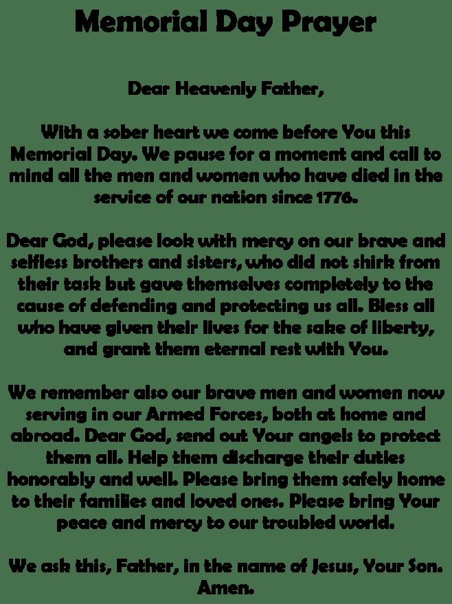 Memorial Day Poems Prayer for Church