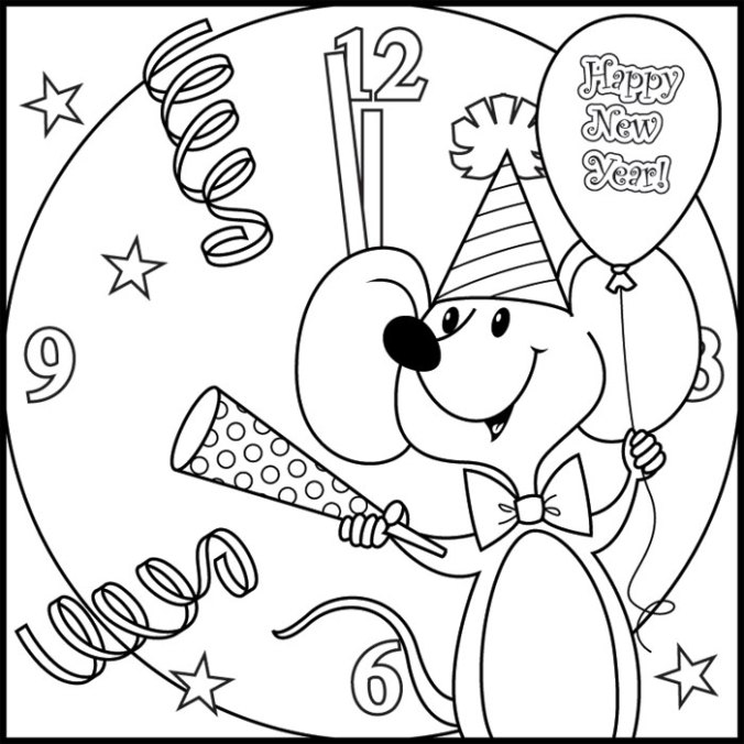 New Year Coloring Pages High Quality Photo