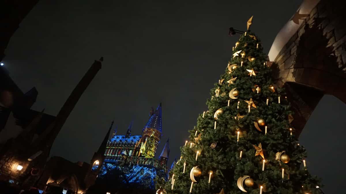 ライトアップされたホグワーツ城とクリスマスツリー