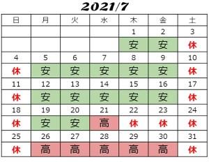 2021年7月チケット料金