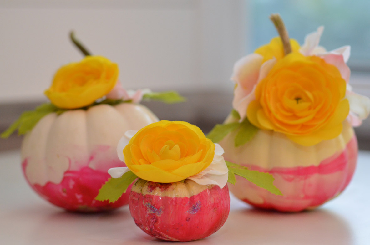 Marbleized Floral Pumpkins by Happy Family Blog