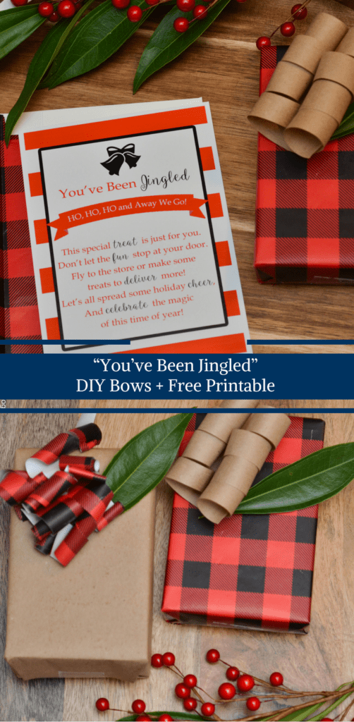 """You've Been Jingled"" including a free printable and how to make your own Christmas bows.  DIY bows from your favorite wrapping paper by Happy Family Blog"