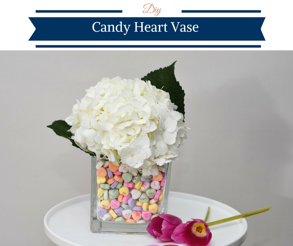 heart vase, vase with hearts, DIY Candy Heart Vase