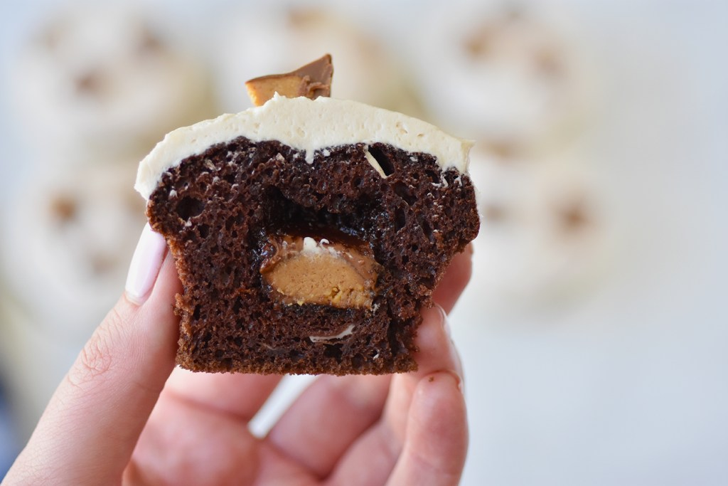 Chocolate cupcakes with Reese's peanut butter cup frosting