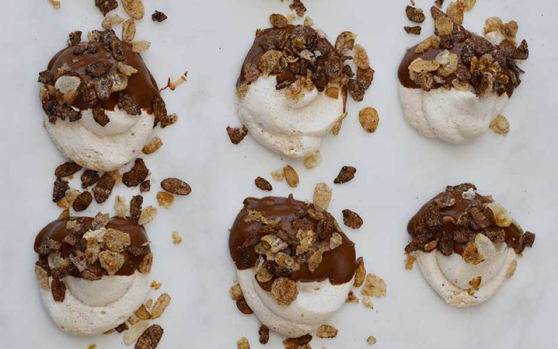 Peanut Butter Meringues Dipped in Chocolate