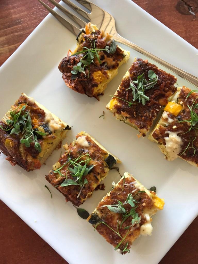 Squash blossom frittata, goat cheese, marjoram