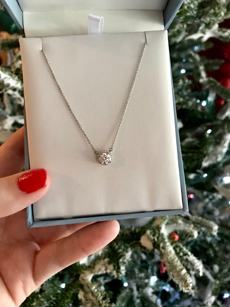 Gifts for Yourself Charles & Colvard Signature Halo Moissanite Necklace