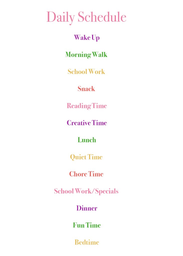 homeschool schedule, homeschool daily schedule, sample homeschool schedule