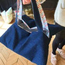 sac à tarte en jean et imprimé pois